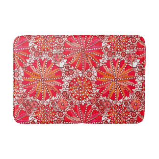 Tribal Mandala Print, Coral Red and White Bath Mat