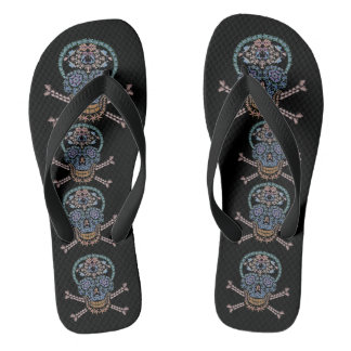 Tribal Marine Skull and Crossbones Jandals