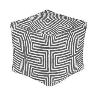 Tribal Print African Maze Design black and white Pouf