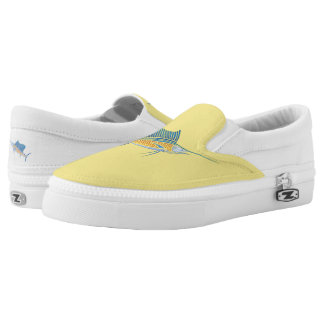 Tribal Sailfish on Lemon Slip-On Shoes
