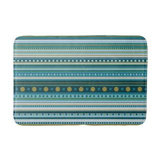 Tribal Teal Blue Green Stripes Pattern Bath Mat
