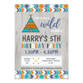 Tribal themed birthday party invitation