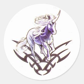 Tribal unicorn tattoo design classic round sticker