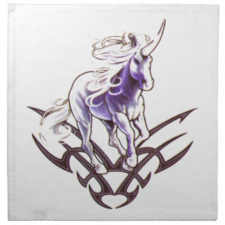 Tribal unicorn tattoo design cloth napkins