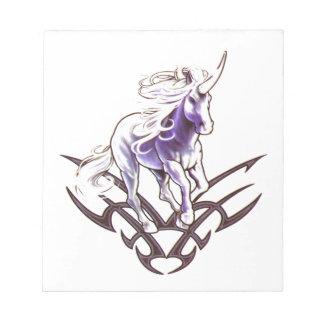 Tribal unicorn tattoo design notepad