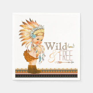 Tribal Wild and Free Girl Baby Shower Disposable Serviettes