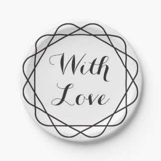 Tribal With Love Black And White Wedding Party 7 Inch Paper Plate