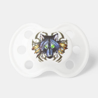 Tribal wolf tattoo design baby pacifier