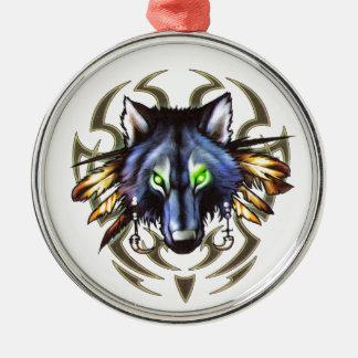 Tribal wolf tattoo design christmas ornament