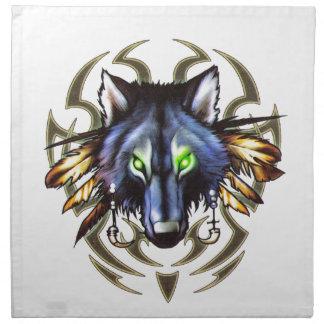 Tribal wolf tattoo design napkins