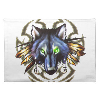 Tribal wolf tattoo design placemats
