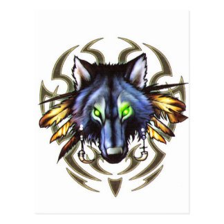 Tribal wolf tattoo design postcard