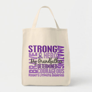 Tribute Square Grandfather Hodgkins Lymphoma Grocery Tote Bag