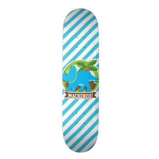 Triceratops Dinosaur; Sky Blue & White Stripes Custom Skateboard