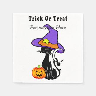 Trick or Treat Black Cat Disposable Serviettes