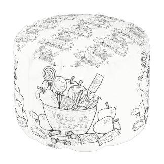 Trick Or Treat Candy Line Art Design Pouf