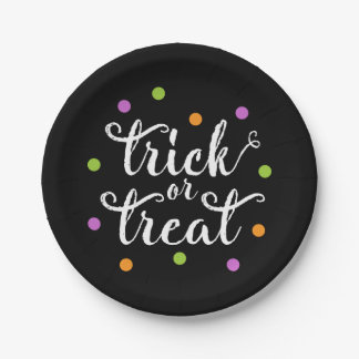 Trick or Treat Confetti | Halloween Paper Plate 7 Inch Paper Plate