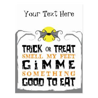 Trick or Treat Halloween Bat Postcard