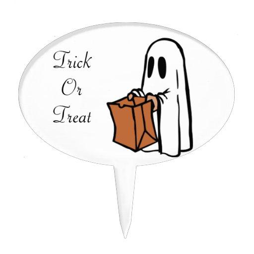 Trick or Treat Halloween Ghost Cake Picks