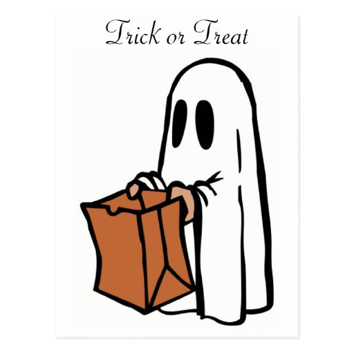 Trick or Treat Halloween Ghost Post Card