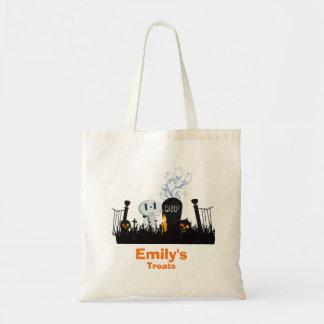 Trick or Treat Halloween Graveyard Cute Skeleton Budget Tote Bag