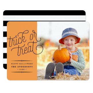 Trick or Treat Halloween Photo 13 Cm X 18 Cm Invitation Card
