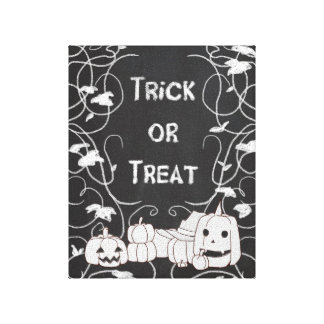 Trick or Treat Halloween Pumpkin Patch Chalkboard Stretched Canvas Prints