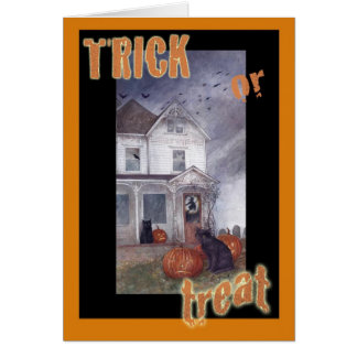TRICK OR TREAT HAUNTED HOUSE HALLOWEEN GREETING GREETING CARD
