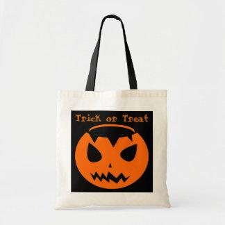 Trick or Treat Orange Pumpkin Tote Bags