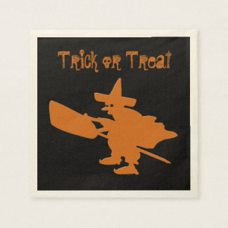 Trick or Treat Orange Witch Disposable Serviettes