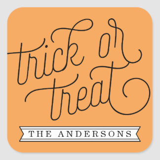 Trick or Treat Personalized Halloween Square Sticker