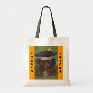 TRICK OR TREAT PIRATE KITTEN HALLOWEEN TOTE BAGS