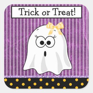Trick or Treat Purple Girl Ghost Halloween Sticker