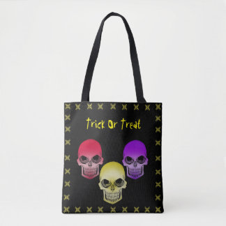 Trick Or Treat Skulls Tote Bag