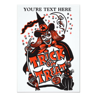 Trick or Treat Witch Halloween (vintage) 5x7 Paper Invitation Card