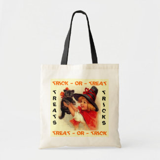 TRICK OR TREAT WITCH KITTENS HALLOWEEN TOTE BAGS