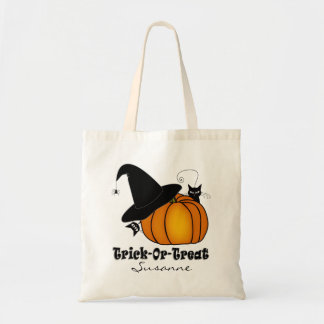 """""""Trick-Or-Treat!"""" Witch's Hat, Cats, Pumpkin #3"""