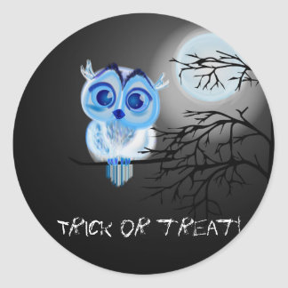 """Trick or treat"" with blue baby owl Round Sticker"