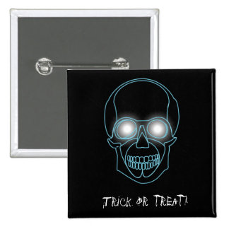 """Trick or treat""  with neon skull 15 Cm Square Badge"