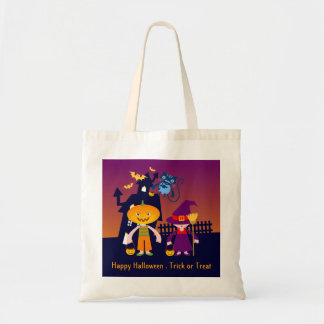 Trick or Treat with the pumpkin head and the witch Canvas Bags