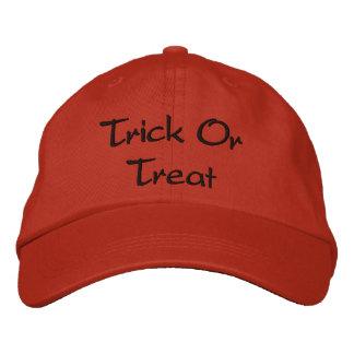 Trick or Treat wording Orange and Black Halloween Embroidered Baseball Cap