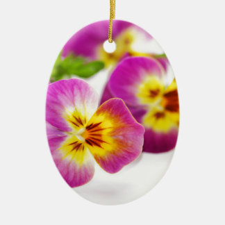 Tricolor   anniversary   flower   Pansy   cute   B Ceramic Oval Decoration