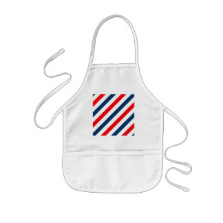 Tricolor Diagonal Stripes(blue, white, and red) Kids Apron