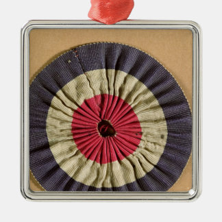 Tricolore rosette Silver-Colored square decoration