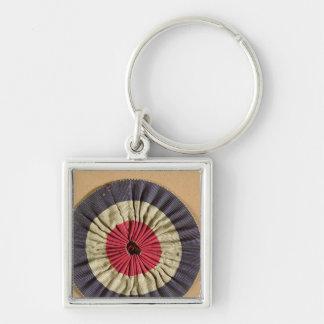 Tricolore rosette Silver-Colored square key ring