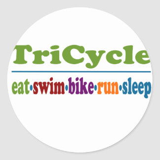 TriCycle in Color Classic Round Sticker