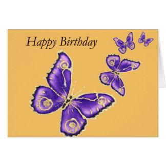 Trinity, Happy Birthday purple butterfly card