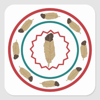 Triple Circle Feathers Square Sticker