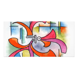 Triple Ornament - watercolor abstract painting Personalised Photo Card