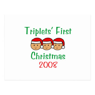 Triplets First Christmas - Santa Hats 2008 Postcard